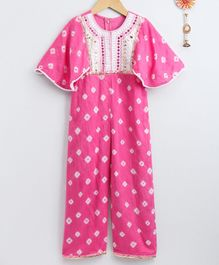 Neha Gursahani Bandhani Print Half Sleeves Jumpsuit With Mirror Work Detailed Yoke - Pink