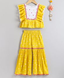 Neha Gursahani Bandhani Print Short Sleeves Pleated Top & Sharara Pants - Yellow