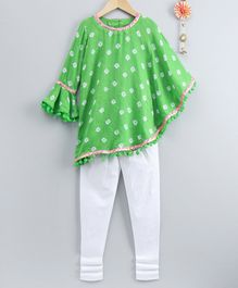 Neha Gursahani Full Sleeves Bandhani Print Kaftan Kurta & Leggings Set - Light Green