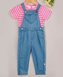 Budding Bees Striped Half Sleeves Tee With Dungaree - Pink & Blue