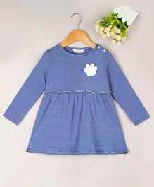 Budding Bees Striped Full Sleeves Dress - Blue