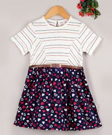 Budding Bees Striped Half Sleeves Dress With Belt - Multi Color