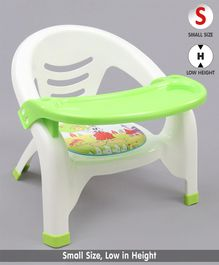 Chair With With Detachable Food Tray Bunny Print - Green
