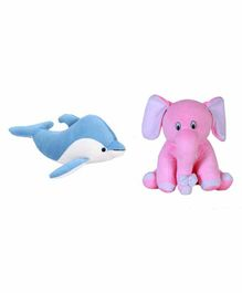 Deals India Elephant & Fish Soft Toys Pack of 2 Pink Blue - Height 25 cm