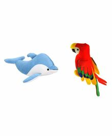 Deals India Musical Parrot and Fish Toy Set of 2 Multicolor - 20 Cm