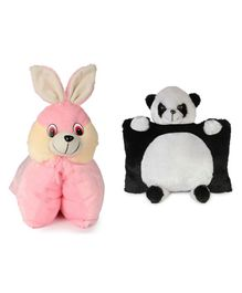 Deals India Folding Bunny Pillow and Panda Pillow Set of 2 Pink Black - 40 cm