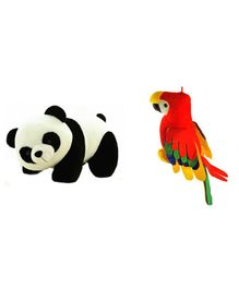 Deals India Panda Soft And Musical Parrot Soft Toy Set of 2 Multicolor - Height 26 cm