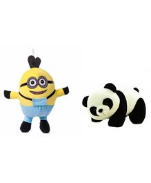 Deals India Minion And Panda Soft Toy Set of 2 Multicolor - Height 30 cm