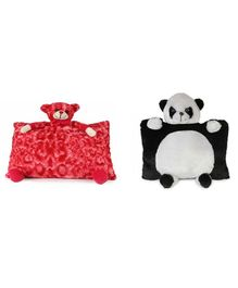 Deals India Teddy & Panda Cushion Set Of 2 Red Black - Height 35 cm