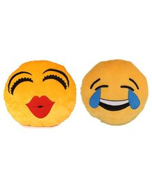 Deals India Soft Kiss & Laughing Tears Emoji Cushion Set Of 2 - Yellow
