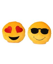Deals India Smiley Cushion Pack of 2 - Yellow