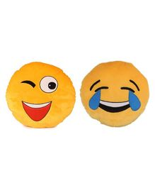 Deals India Smiley & Laughing Cushion Pack of 2 - Yellow