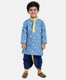 Bownbee Full Sleeves Floral Print Kurta With Dhoti - Blue