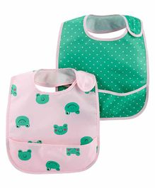Carter's 2-Pack Hearts & Frogs Water Resistant Bibs - Green Pink