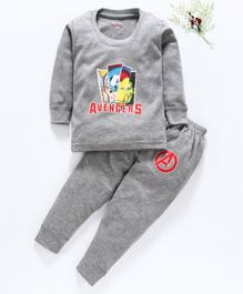 Bodycare Full Sleeves Inner Wear Thermal Set Avengers Print - Grey