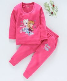 Bodycare Full Sleeves Inner Wear Thermal Set Anna & Elsa Print- Pink
