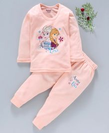 Bodycare Full Sleeves Inner Wear Thermal Set Anna & Elsa Print- Peach
