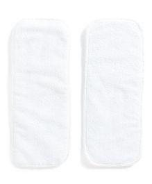 Polka Tots Microfiber Reusable 3 Layer Cotton Liner Inserts Pack of 2 - White
