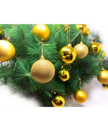 Amfin Glitter Christmas Tree Balls for Xmas Party Hanging Ornament Gold - 24 Pieces