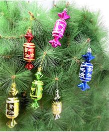 Amfin Glitter Christmas Tree Toffee for Xmas Party Hanging Ornament  - 6 Pieces