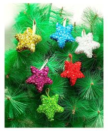 Amfin Glitter Christmas Star for Xmas Party Hanging Ornament - 6 Pieces