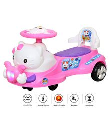 Luusa Swing Car With LED Light & Music - Pink