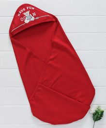 Zero Hooded Swaddle Wrapper Bear Patch - Red