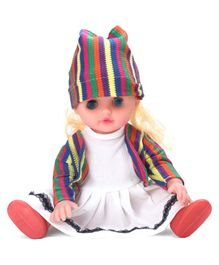Musical Girl Doll With Striped Cap & Boots - Multicolor