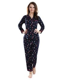 Piu Christmas Print Full Sleeves Maternity Night Suit - Navy Blue