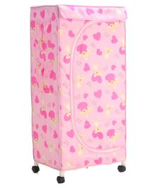 New Natraj Folding Wardrobe With Wheels Bear & Heart Print - Pink