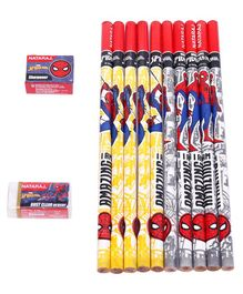 Nataraj Spider-Man Pencils With Eraser & Sharpener Multicolor - Pack Of 10