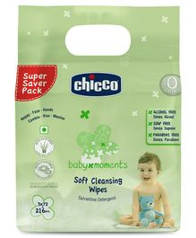 Chicco Soft Cleansing Wipes Tripack -216 Pieces(Sticker Pack)