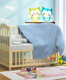 Pluchi Calm Lion Print Knitted Kids Blanket - Blue