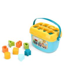 Baby's First Block Shape Sorter With Box Blue Yellow - 16 Blocks.