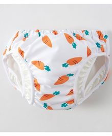 Kookie Kids Swim Diaper Carrot Print - White