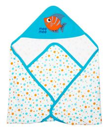 Mee Mee Hooded Blanket Fish Embroidery - Blue White