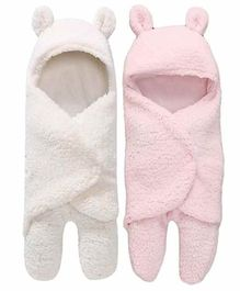 Zoe Double Layer Hooded Wearable Blankets Pack of 2 - Pink & White