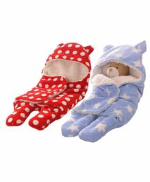 Zoe Double Layer Hooded Wearable Blankets  Pack of 2 - Red Blue