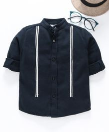 TONYBOY Full Sleeves Front Taped Shirt - Navy Blue