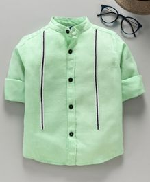 TONYBOY Full Sleeves Front Taped Shirt - Light Green