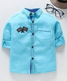 TONTBOY Full Sleeves Flag Patch Shirt - Light Blue