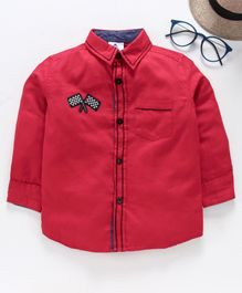 TONTBOY Full Sleeves Flag Patch Shirt - Red
