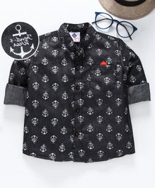 TONYBOY Full Sleeves Anchor Print Shirt - Black