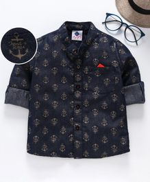 TONYBOY Full Sleeves Anchor Print Shirt - Dark Blue