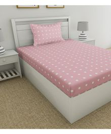 Haus & Kinder Candy Polka Cotton Single Bedsheet With Pillow Cover Single - Pink