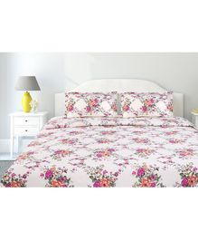 Haus & Kinder Greek Garden Romance Cotton King Size Bedsheet 2 Pillow Covers  - Orange