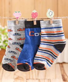 Cute Walk by Babyhug Ankle Length Non Terry Anti-bacterial Stripes & Vehicle Design Socks Pack of 3 Pairs - Blue Grey