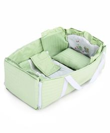 Baby Carry Cot With Inner Bedding Set Bunny Embroidery - Green