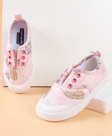 Cute Walk by Babyhug Canvas Shoes Leaves Print - Pink