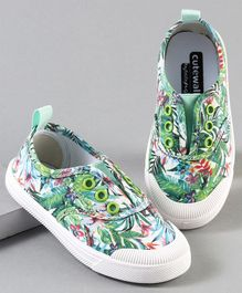 Cute Walk by Babyhug Canvas Shoes Leaves Print - Green